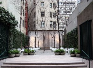 Paley Park on the north side of East 53rd Street on a cloudy afternoon in late winter